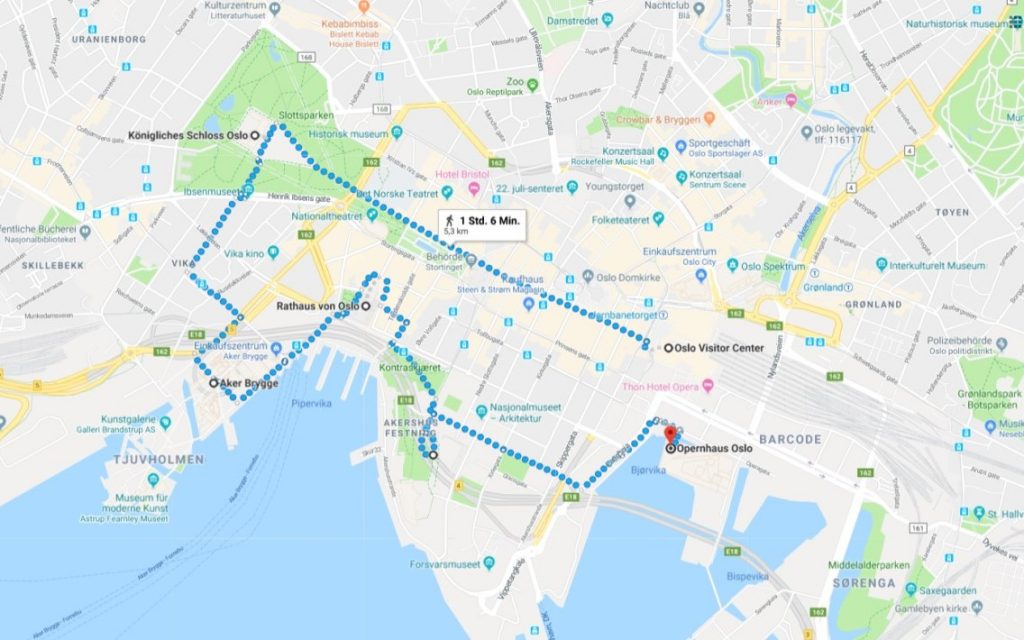 Spaziergang durch Oslo zu allen Sehenswürdigkeiten