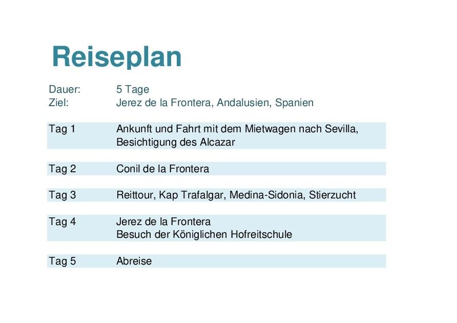 Reiseplan Andalusien