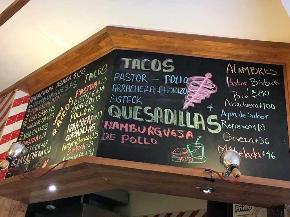 Speisekarte Mexiko